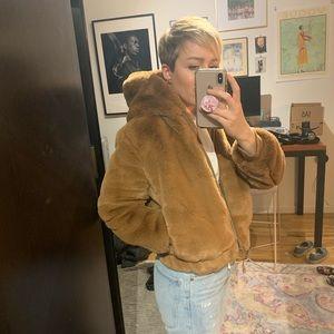 Gap faux fur hoodie bomber